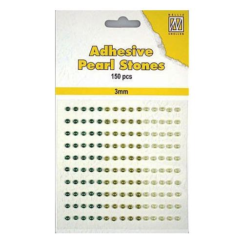 150 plak parels 3mm. 3 kleuren: groen APS30