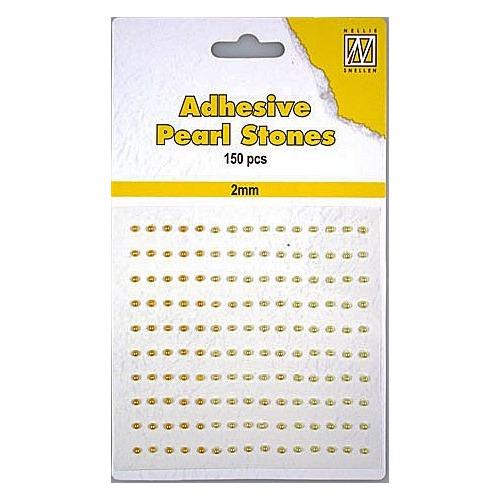 150 plak parels 2mm. 3 kleuren: geel/goud APS204