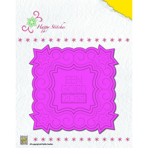 Stitching Die Happy Stitches - Christmas Square 1