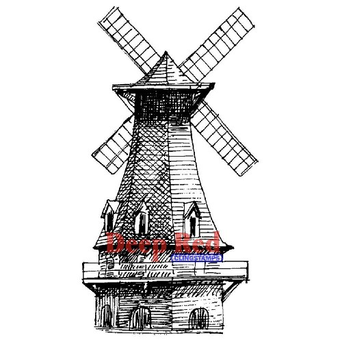 Deep Red Windmill Cling Stamp