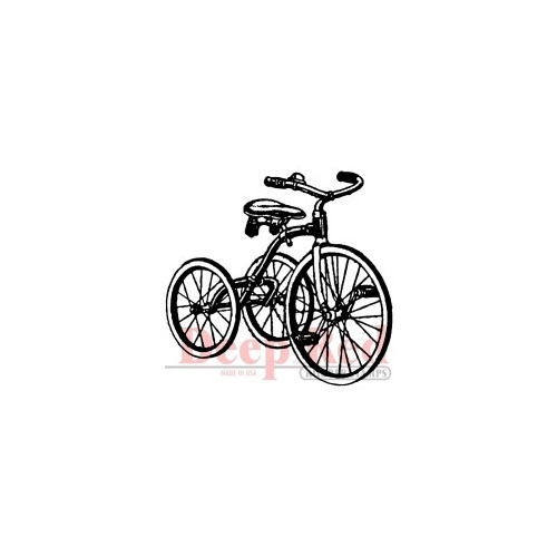 Vintage Tricycle Rubber Stamp - Deep Red Stamps
