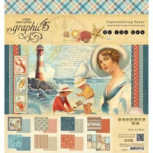 By The Sea Double-Sided Paper Pad 8X8 16 Sheets -8 Designs/2ea