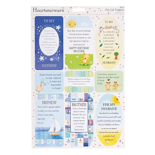 A4 Die-Cut Heartwarmer Sparkling Sentiments - (Male Relations)