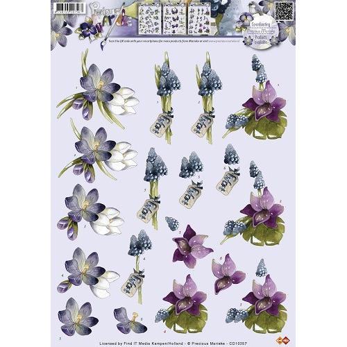 3D A4 knipvel Precious Marieke - Bloemen CD10357