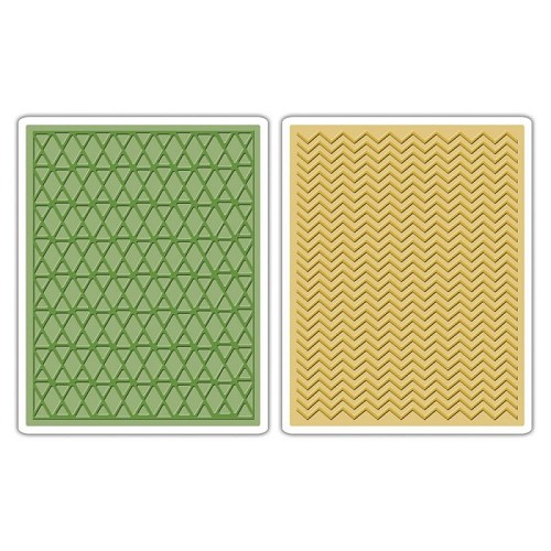 Sizzix Texture Fades A2 Embossing Folders Chevrons & Lattice By