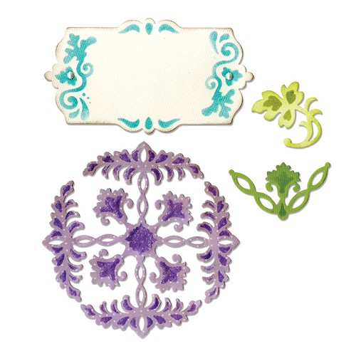 Thinlits Die Set Ornate Flowers & Tag Rachael Bright