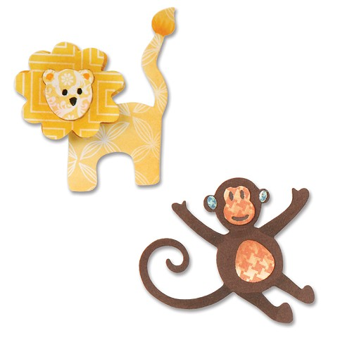 Sizzix Thinlits Die Set (8pcs) - Lion & Monkey