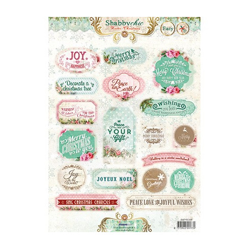 A4 Stansvel - Labels Winter Christmas Shabby Cic nr.449
