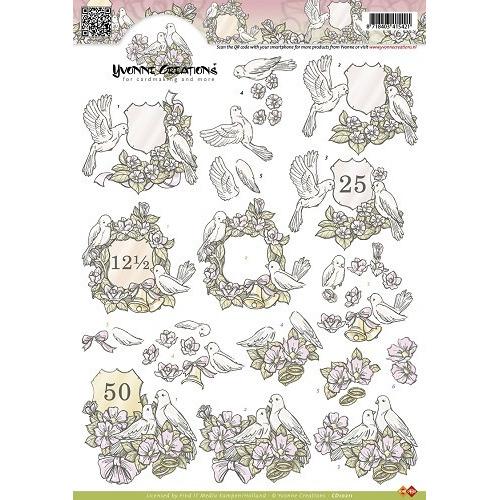 3D Knipvel - Yvonne Creations - Jubileum duiven