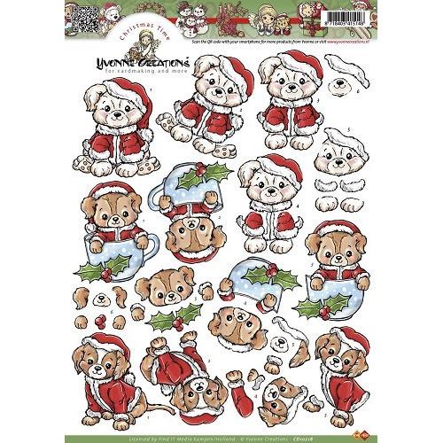A4 knipvel Yvonne Creations - Kersthondje