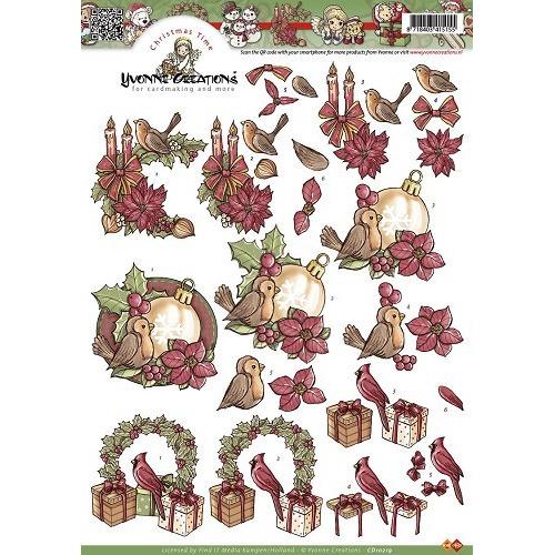 A4 knipvel Yvonne Creations - Kerstbloemen