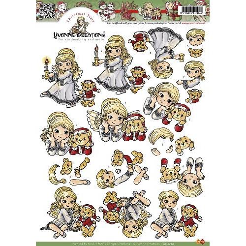A4 knipvel Yvonne Creations - Kerstengelen