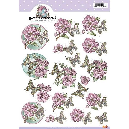 A4 knipvel Yvonne Creations - Bloemen