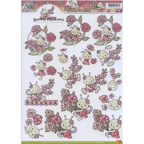 A4 Knipvel Yvonne Creations - Bij met bloemen
