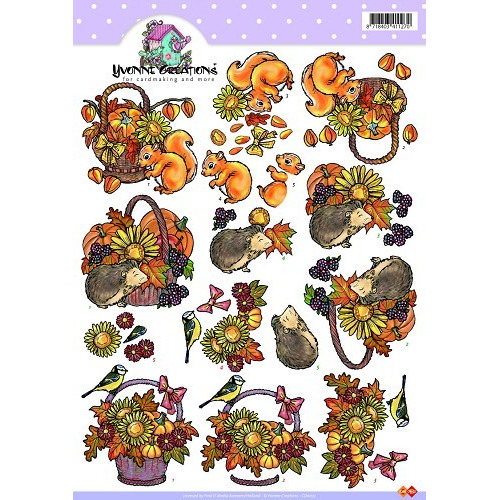 3D A4 Knipvel Card Deco Yvonne Creations - Herfstmandje