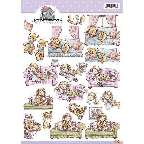 3D A4 Knipvel Card Deco Yvonne Creations CD10156 - Meisje op ban