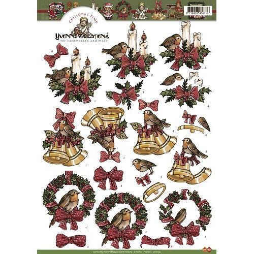 3D A4 Knipvel Card Deco Yvonne Creations Kerst CD10159 - Christm
