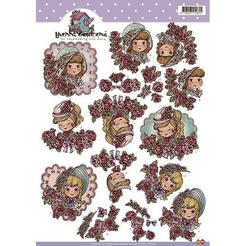 3D A4 Knipvel Card Deco Yvonne Creations CD101633D  - Meisje