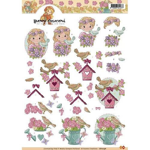 3D A4 Knipvel Yvonne Creations - Vogels met bloemen