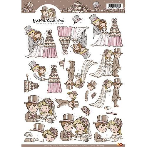 3D A4 Knipvel Card Deco Yvonne Creations - Bruidspaar