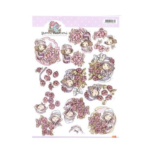 3D A4 Knipvel Card Deco Yvonne Creations - Meisje met bloemen