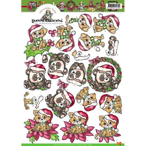 3D A4 Knipvel Card Deco Yvonne Creations - Kerstdiertjes