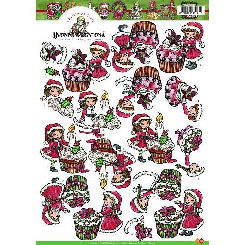 3D A4 Knipvel Card Deco Yvonne Creations - Kerstcupcakes