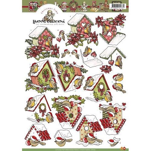 3D A4 Knipvel Card Deco Yvonne Creations - Kerstvogelhuisje