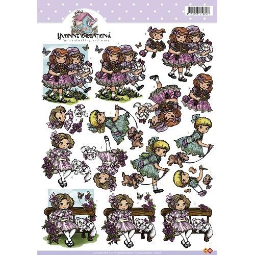 3D A4 Knipvel Card Deco Yvonne Creations - Meisjes