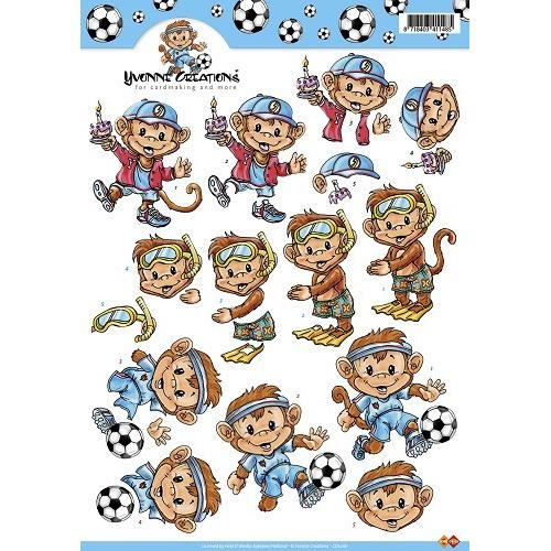 3D A4 Knipvel Card Deco Yvonne Creations - voetbal