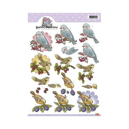 3D A4 Knipvel Card Deco Yvonne Creations - Vogels