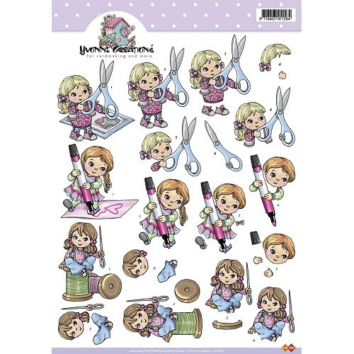 3D A4 Knipvel Card Deco Yvonne Creations -  Poppetjes/hobby/scha