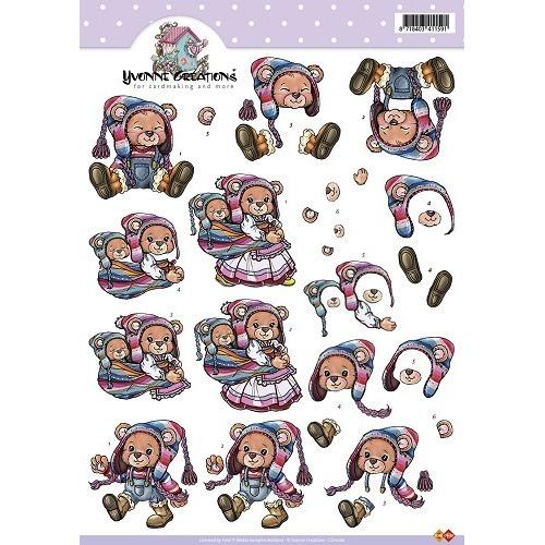 3D A4 Knipvel Card Deco Yvonne Creations - Beren/baby