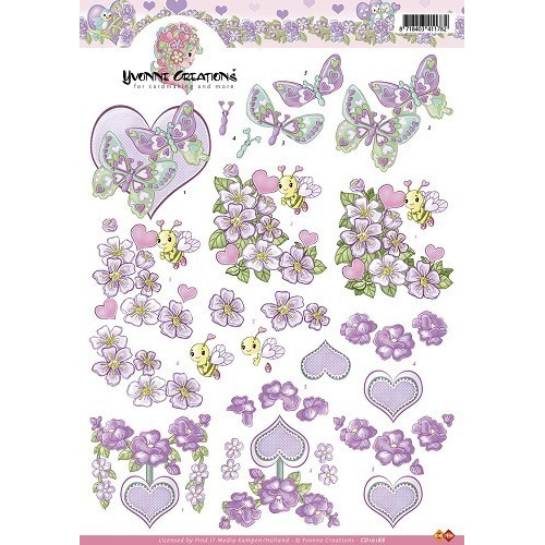 3D A4 Knipvel Yvonne Creations - Valentijn bloemen paars