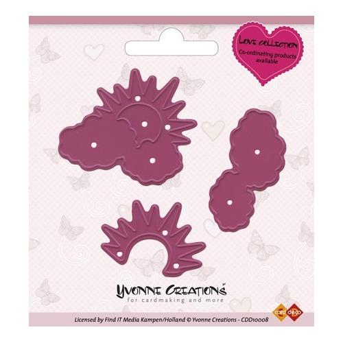 Yvonne Creations - Cut & Emboss Die - Valentine Sun behind cloud