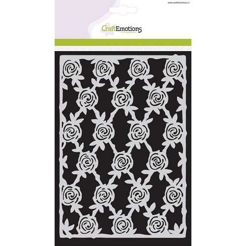 CraftEmotions Mask stencil High Tea Rose - Rozen hek A5 new 09-2