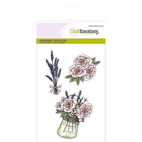 CraftEmotions clearstamps A6 - Pot met rozen en lavendel High Te