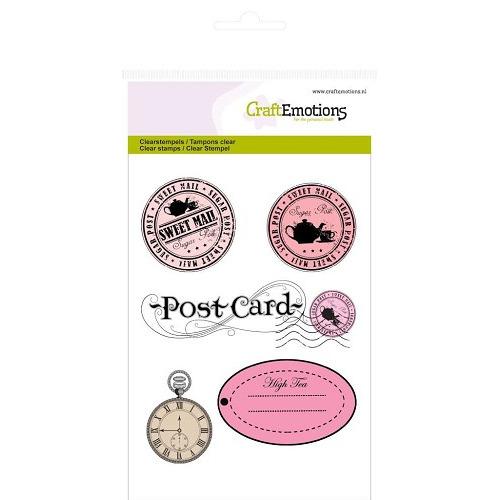 CraftEmotions clearstamps A6 - stempels en label High Tea Rose