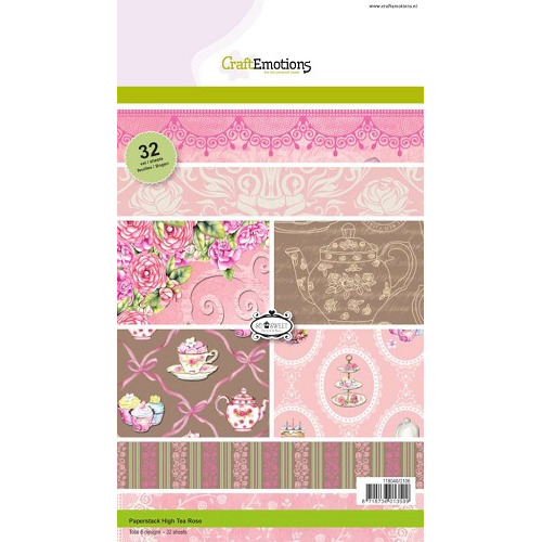 CraftEmotions Paper stack High Tea Rose 32 vel A5 new 09-2014