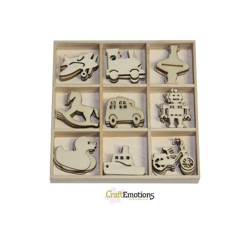 CraftEmotions Houten ornamenten - Speelgoed 45 pcs - box 10,5 x