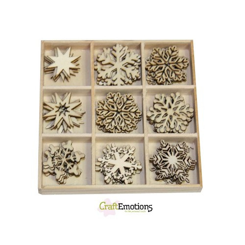 CraftEmotions Houten ornamenten - Kristallen 45 pcs - box 10,5 x