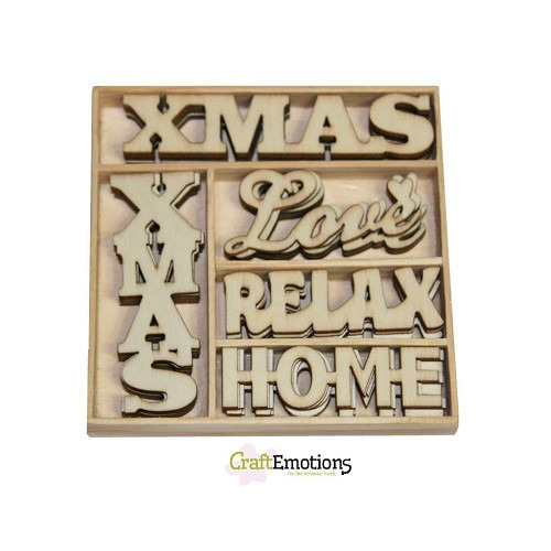 CraftEmotions Houten ornamenten - Xmas woorden 25 pcs - box 10,5