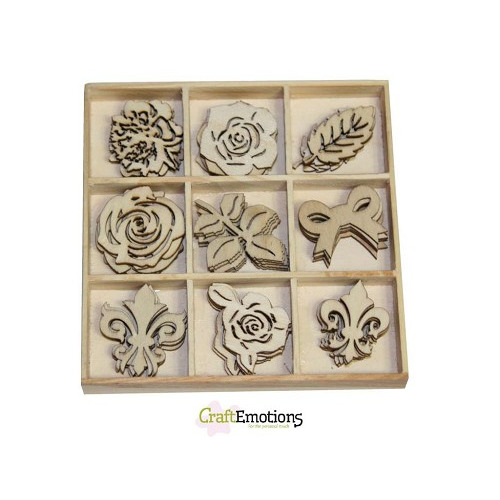 CraftEmotions Houten ornament High Tea Rose - Rozen 45 pcs - box