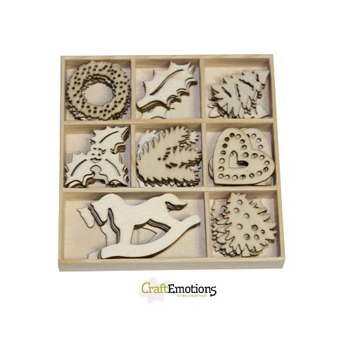 CraftEmotions Houten ornamenten - Kerstversiering 40 pcs - box 1