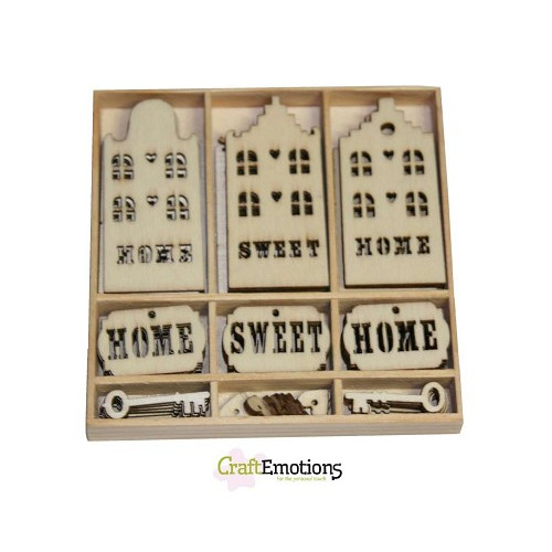 CraftEmotions Houten ornamenten - Home Sweet Home 55 pcs - box 1