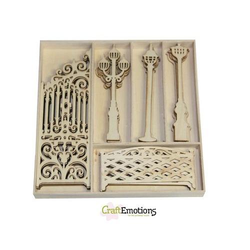 CraftEmotions Houten ornamenten - Sierhek en lantaarns 25 pcs -
