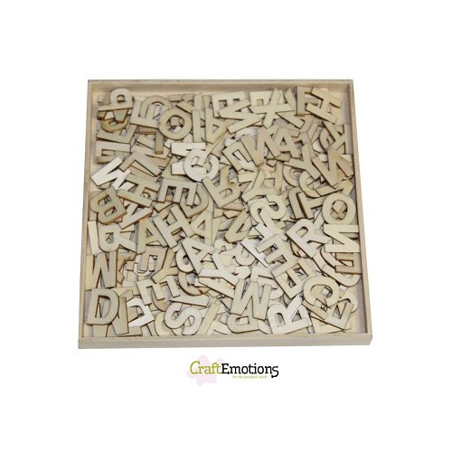 CraftEmotions Houten ornamenten - Alfabet basic groot 250 pcs -