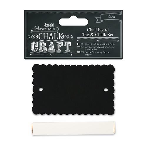 Chalkboard Tag & Chalk Set (12pcs) - Scalloped