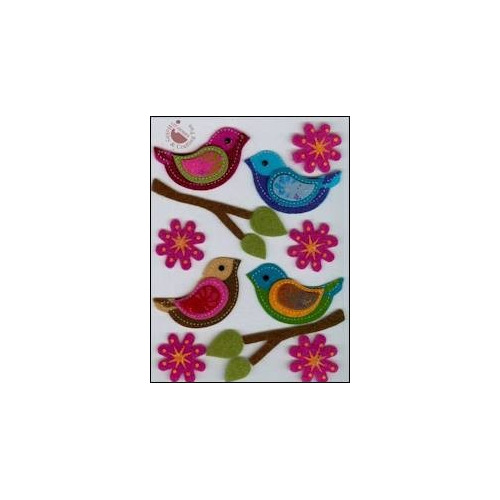 Felt 3D stickers birds & flowers (15)