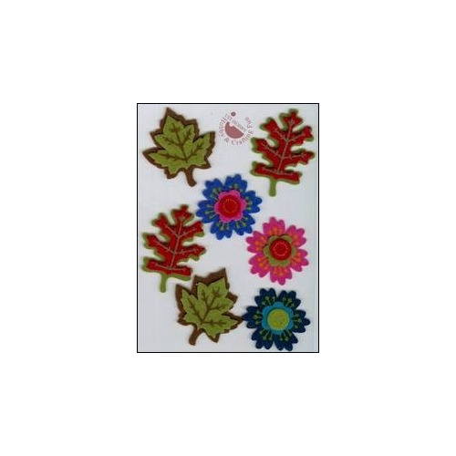 Felt 3D stickers flowers & leaves (7)